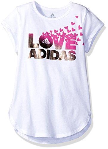 Adidas T-shirt Cap (adidas Big Girls' Cap Sleeve Tee Shirt, White, XS)