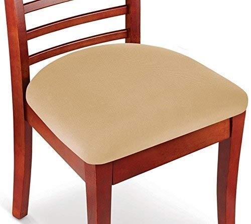 Hoovy Seat Covers Pack of 2 Protective & Stretchable – for Round & Square Chairs (Beige)