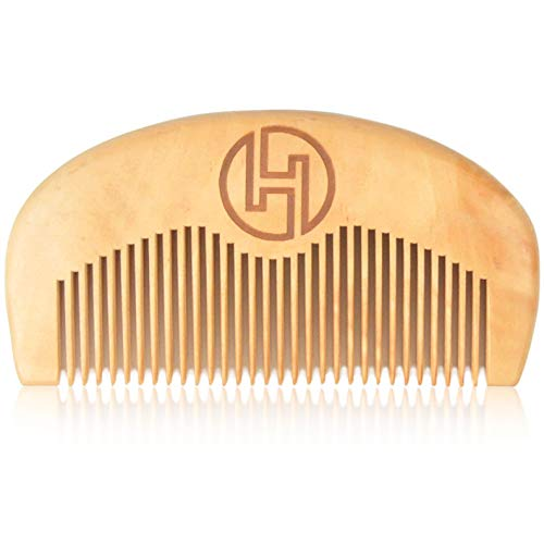 Beard Comb for Men – Premium Peach Wooden Combs for Styling Mens Beards, Mustache, and Hair by Hustlepreneur.