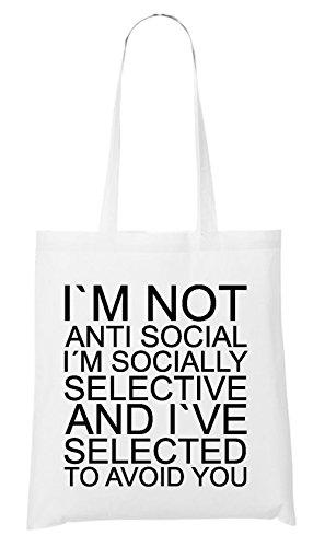 I Am Not Anti Social Bag White