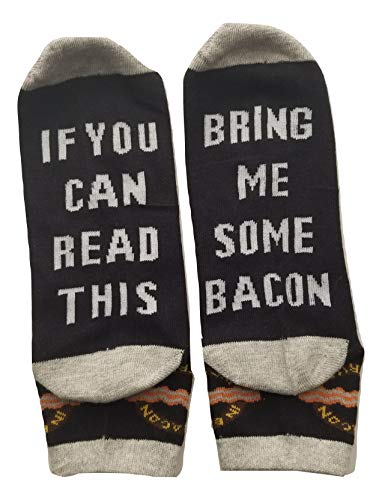 Bring Me Some Bacon Unisex Dress Socks For Bacon Lovers, Breakfast, Gag gift, novelty present for Men Women with Sewn in Letter and Logo(500+ sold) ()