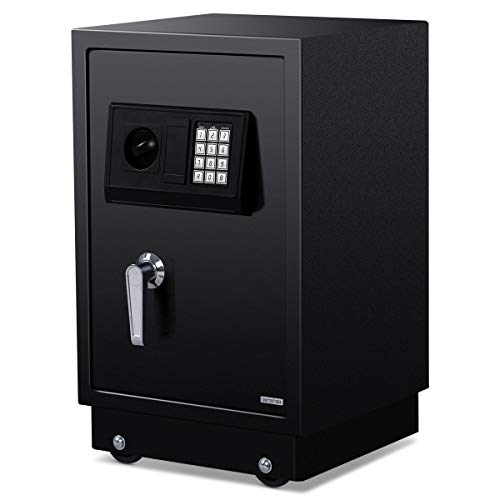 Giantex Security Safe Box Anti-Theft Safe Wall Mouted with Digital Lock Removable Wheels, Security Box for Money Jewelry Gun Storage, Capacity1.5 Cubic Feet
