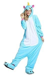 Missley Adulto Unisex Flanela Unicornio Cartoon Animal Novedad Halloween Pijama Cosplay (M, Blue)