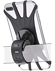 """Bovon Bike Phone Mount, 360°Rotation Silicone Bicycle Phone Holder, Universal Motorcycle Handlebar Mount Compatible with iPhone Se/11 Pro Max/XR/XS Max/8/7/ 6/6s Plus, Galaxy S20/S9, 4.0""""-6.5"""" Phones"""