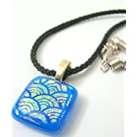 "Blue ""Sunrise"" Dichroic Glass Necklace"
