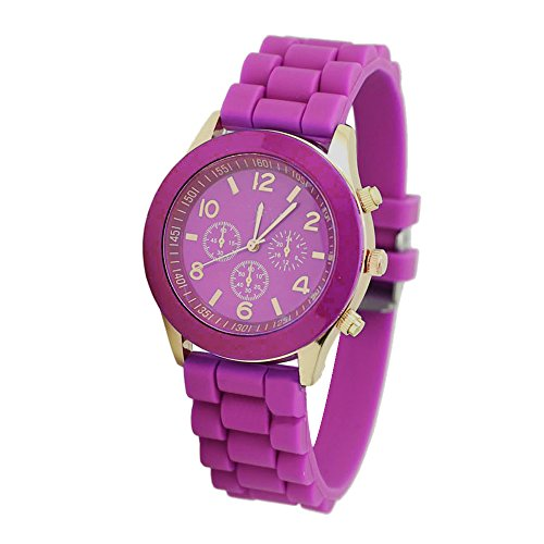 Ocaler®Unisex Jelly Gel Silicone Rubber Band Analog Quartz Wrist Watch (Rose)
