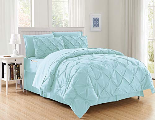 Aqua Comforter Set - Luxury Best, Softest, Coziest 8-Piece Bed-in-a-Bag Comforter Set on Amazon! Elegant Comfort - Silky Soft Complete Set Includes Bed Sheet Set with Double Sided Storage Pockets, King/Cal King, Aqua