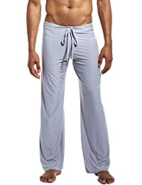 Lus Chic Mens Loose Sleep Pants Jersey Knit Solid Loungewear Soft Classic PJ Pajama Bottoms