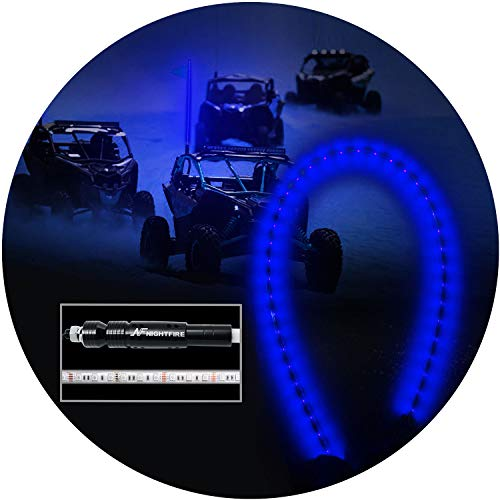 NF NIGHTFIRE Blue LED Whips 6FT Flag Pole For Polaris RZR ATV UTV Antenna Sand Dune Flag Buggy Whips Quad Truck Offroad Racing Motorcycle (One Whip)