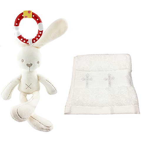 BBVESTIDO Baptism Towel with Cross Christening Gifts from Grandma (Towel and Bed Bell, Towel and Bed Bell) (Grandmother Bell)