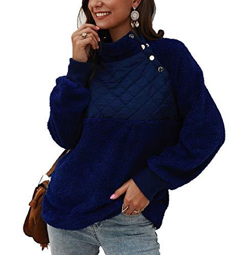 Women's Warm Sherpa Pullover Sweatshirt,Long Sleeve Oblique Button Neck Fleece Casual Geometric Pattern Patchwork Outwear Navy