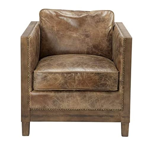 Farmhouse Accent Chairs Vintage Brown Leather Accent Chair – 31.5″ X 28″ 31″ Solid Modern Contemporary Rustic Foam Wood Antique Includes Hardware Removable Cushions farmhouse accent chairs