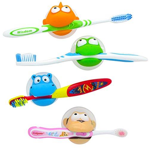 CHERABOO - Hurley Hippo & Friends Kids Toothbrush Holder Set - Great Stocking Stuffer!