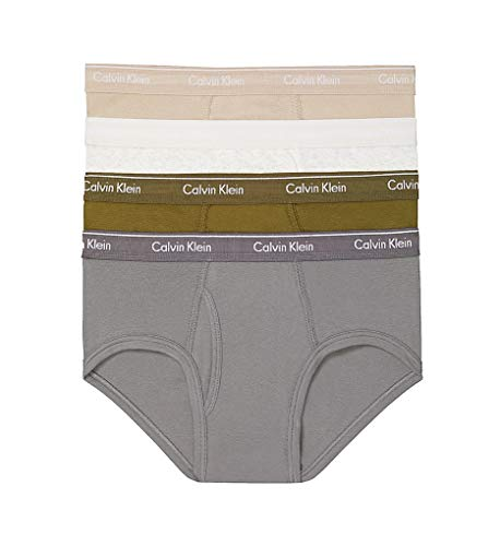 (Calvin Klein Men's Cotton Classics Multipack Briefs, Oxford Tan/Snow Heather/Lincoln Green/Grey Smoke,)