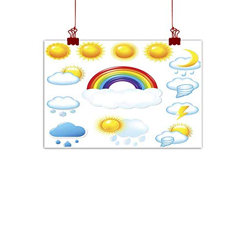 - duommhome Modern Oil Paintings Bright Weather Icons Set Modern Oil Paintings 24