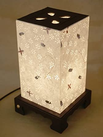 Mulberry Rice Paper White Shade Handmade Floral Lighting Flower Design  Square Lantern Decorative Bedside Bedroom Home
