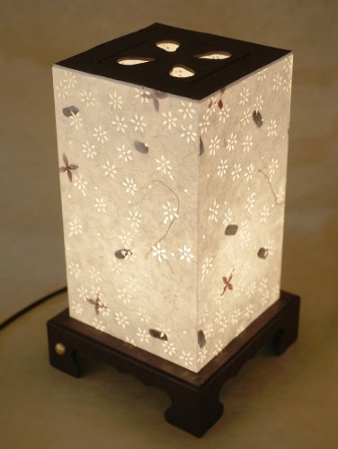 Mulberry Rice Paper White Shade Handmade Floral Lighting Flower Design Square Lantern Decorative Bedside Bedroom Home Decor Accent Table Light Lamp