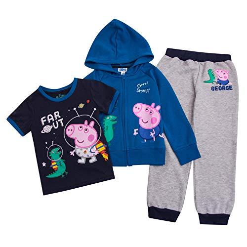 (Peppa Pig Toddler Boys Set George Hoodie, T-Shirt & Sweatpants Set (Multicolored,)