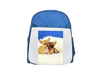 Dos perros Chihuahua de pelo blanco impreso Kid s azul mochila, para mochilas,