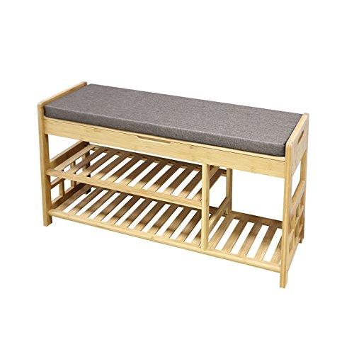 Clevr Natural Bamboo Shoe Storage Rack Bench with 2-Tier Storage Drawer on Top, Shoe Organizer Entryway Seat Storage Shelf Hallway Furniture (Seating Hallway Furniture)