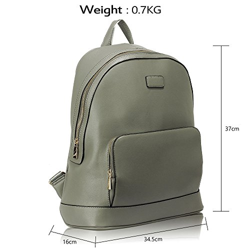 Grey Faux Leather Spacious Women Smooth Navy 0525 Backpack School Bag Bag Strap Adjustable Aw6AX7Bq