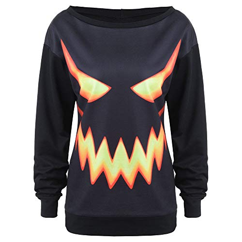 Women Black Halloween Shirt, Pumpkin Face Printed Sweatshirt ANJUNIE Jumper Pullover Tops (Black,S (Cover Line Breech)
