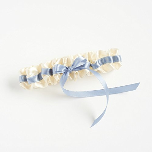 Wedding Garter in Ivory and Dusty Blue by The Garter Girl - Something Blue, High Fashion Detail, Bridal Shower Present For The Bride, Includes Gift Box and Heirloom Bag for Saving After The Wedding