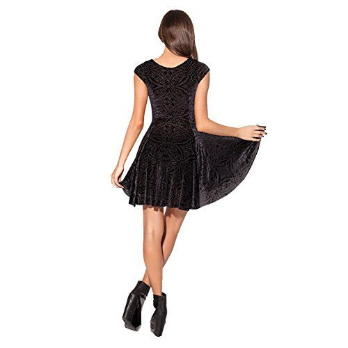 iBaste Pleated Dresses Clubwear Velvet Knee-length Short Sleeve Reversible Skater Clubwear Ball Party Dress