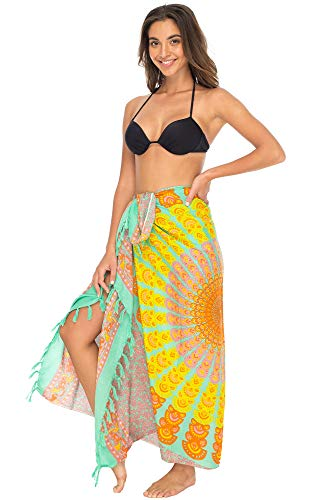 (Back From Bali Womens Beach Swimsuit Bikini Cover Up Wrap and Clip Sarong Peacock Mint)