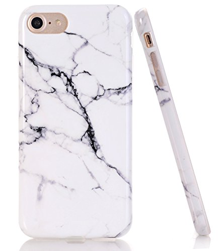BAISRKE White Black Marble Design Clear Bumper TPU Soft Rubber Silicone Cover Phone Case Compatible with iPhone 7 (2016) / iPhone 8 (2017) [4.7 inch]