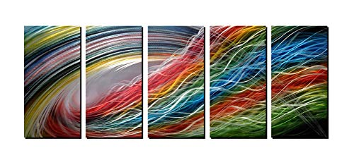 - Panel Metal Wall Art with Colorful Wave Lines Design, Abstract Modern and Contemporary Décor, Unique Metal Wall Sculpture, Silver Aluminum Artwork, Indoor and Outdoor Decoration, 5 Panels 64