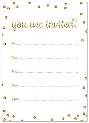 50 Cnt Glitter Graphic Dots Bridal/baby Shower Fill-in Invitations