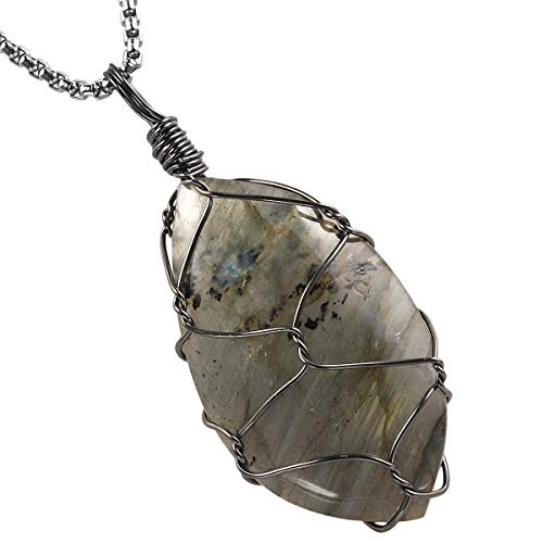 TUMBEELLUWA Labradorite Necklace Irregular Shape Wire Wrapped Quartz Crystal Pendant with Chain Healing Stone Jewelry,Style 6