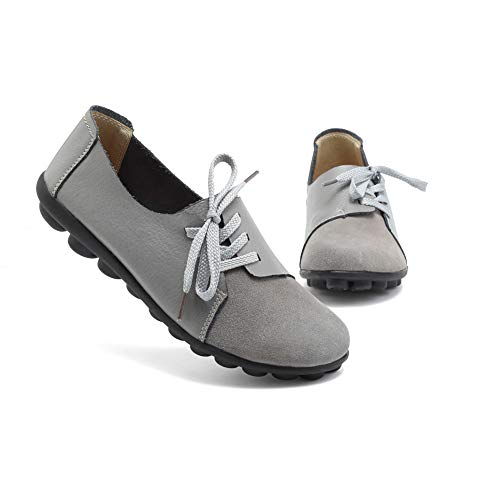- KISFLY Gray Flat Shoes for Women Ladies Girls Gray Leather Round Toe Casual Slip on Loafers Comfortable Driving Walking Shoes Size 8