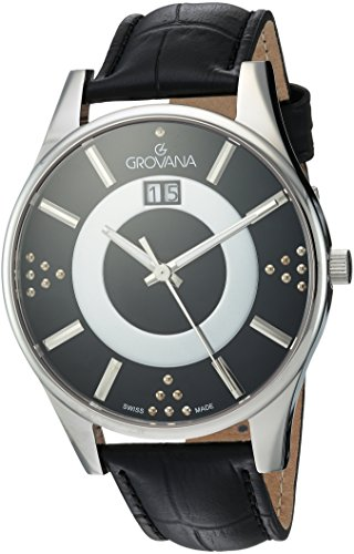 Grovana Women's 'Contemporary' Swiss Quartz Stainless Steel and Leather Casual Watch, Color:Black (Model: 4411-1537)