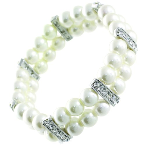 Double Faux Pearl Bracelet (Double Strand 8mm White Faux Pearl Stretch Bracelet with Rhinestones - Bridal Jewelry)