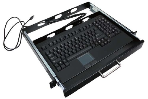 Adesso 19-Inch, 1U Rackmount Keyboard Drawer with Built-in Touchpad PS/2 Keyboard (ACK-730PB-MRP) by Adesso