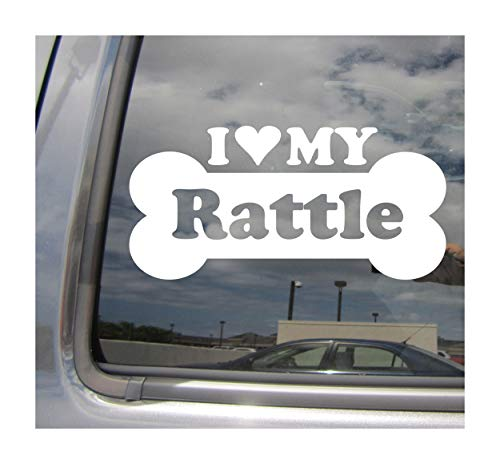 - I Heart Love My Rattle - Dog Bone American Rat Terrier Poodle Designer Mixed Hybrid Breed Cars Trucks Moped Helmet Surfboard Auto Automotive Craft Laptop Vinyl Decal Store Window Wall Sticker 13816