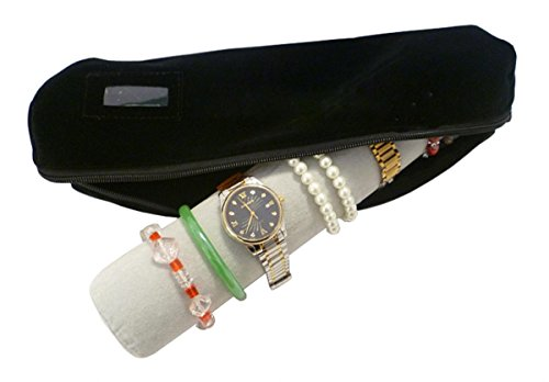 WODISON Packing Velvet Bracelet Watch Roll Bag Organizer with Removable Cube Holder