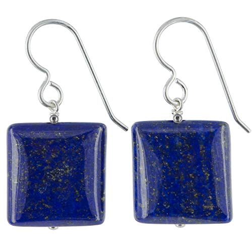 Square Lapis Lazuli Gemstone Sterling Silver Dangle Drop Navy Blue Earrings