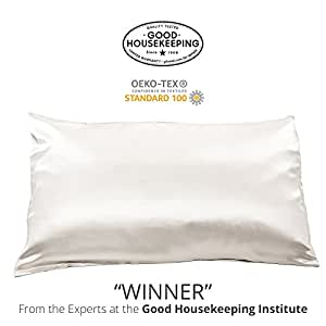 "Fishers Finery 25mm 100% Pure Mulberry Silk Pillowcase Good Housekeeping ""Winner"" (White, Q)"