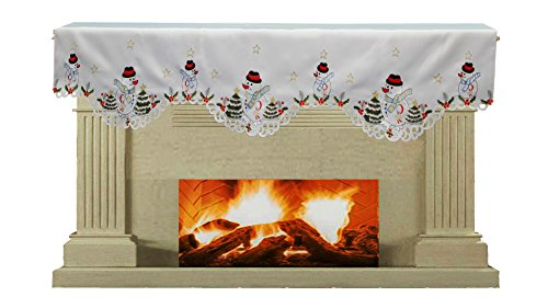 Mantle Cover (Creative Linens Holiday Embroidered Snowman and Christmas Tree Mantel Scarf 19x70