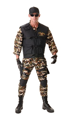 Underwraps Men's Seal Team Adult Deluxe, Camo/Black, One Size ()