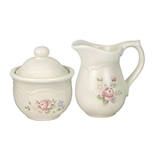Pfaltzgraff Tea Rose Sugar and Creamer - Rose Bowl Sugar