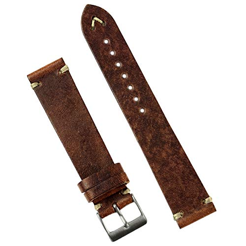 (B & R Bands 20mm Chestnut Classic Vintage Italian Leather Watch Band Strap - Small Length )