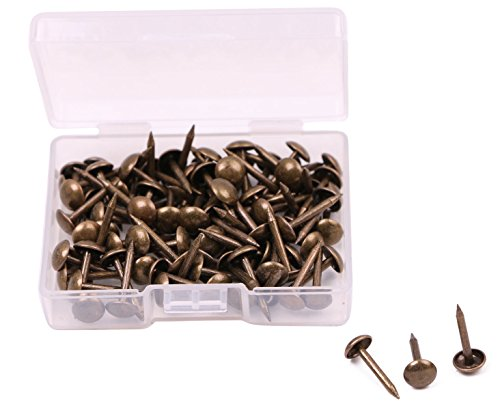 Shapenty 100PCS 6mm Diameter Small Vintage Decorative Furniture Sofa Rivet Nails Upholstery Pins Craft Thumbtack Tack, 6x14mm, Antique Brass