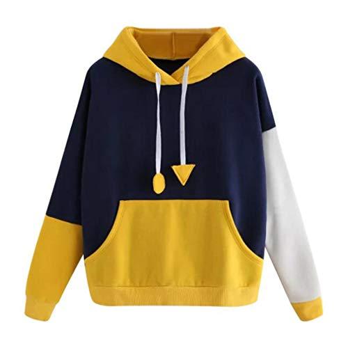 (Winter Womens Hoodie Sweatshirt Long Sleeve Jumper Hooded Pullover Tops Female Jumper Women Tracksuits Yellow M)