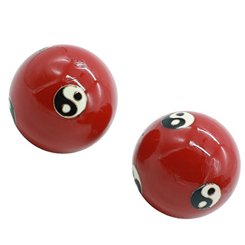 2'' Cloisonne Health Hand Balls Exercise Stress Balls Craft Collection (TAIJI red, L) - 2 Cloisonne Health Balls