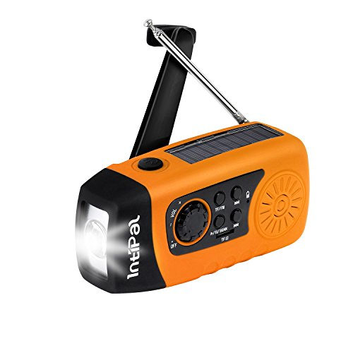 IntiPal 2000mAh, Emergency Solar Hand Crank FM Radio, MP3 Player, Flashlight, Smart Cell Phone Charger w/ USB Cable (Yellow) (Phone Cell Radio Charger)