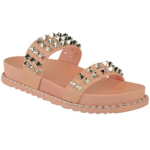 Womens New Faux Size Summer Peach Casual Studded Flat Leather Mules Ladies Slip Pink On Sliders Pastel Rock SnqvSwTr